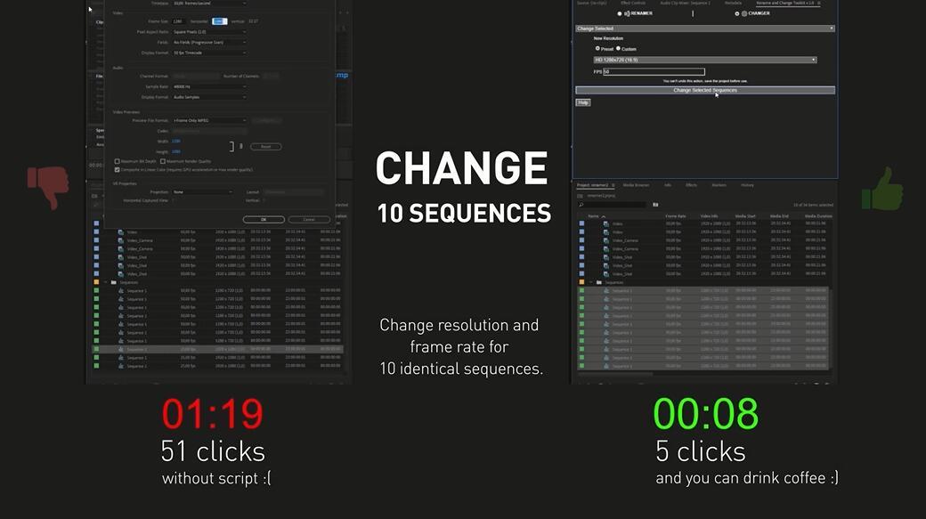 PR插件 Premiere批量修改素材文件名和属性工具脚本扩展 Rename and Change Toolkit v1.0+使用教程插图(1)
