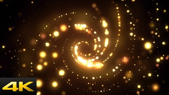 动态开场背景视频素材 金色粒子无限旋转循环视频素材下载插图