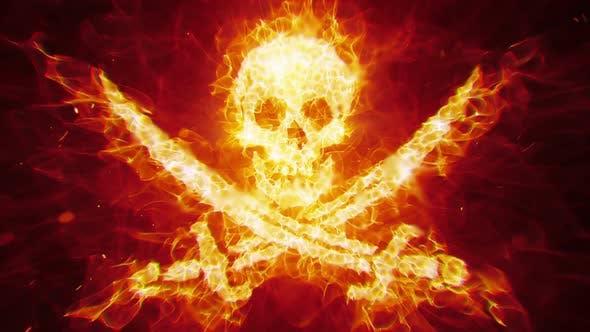 特效视频素材 燃烧着的海盗骷髅视频素材免费下载插图