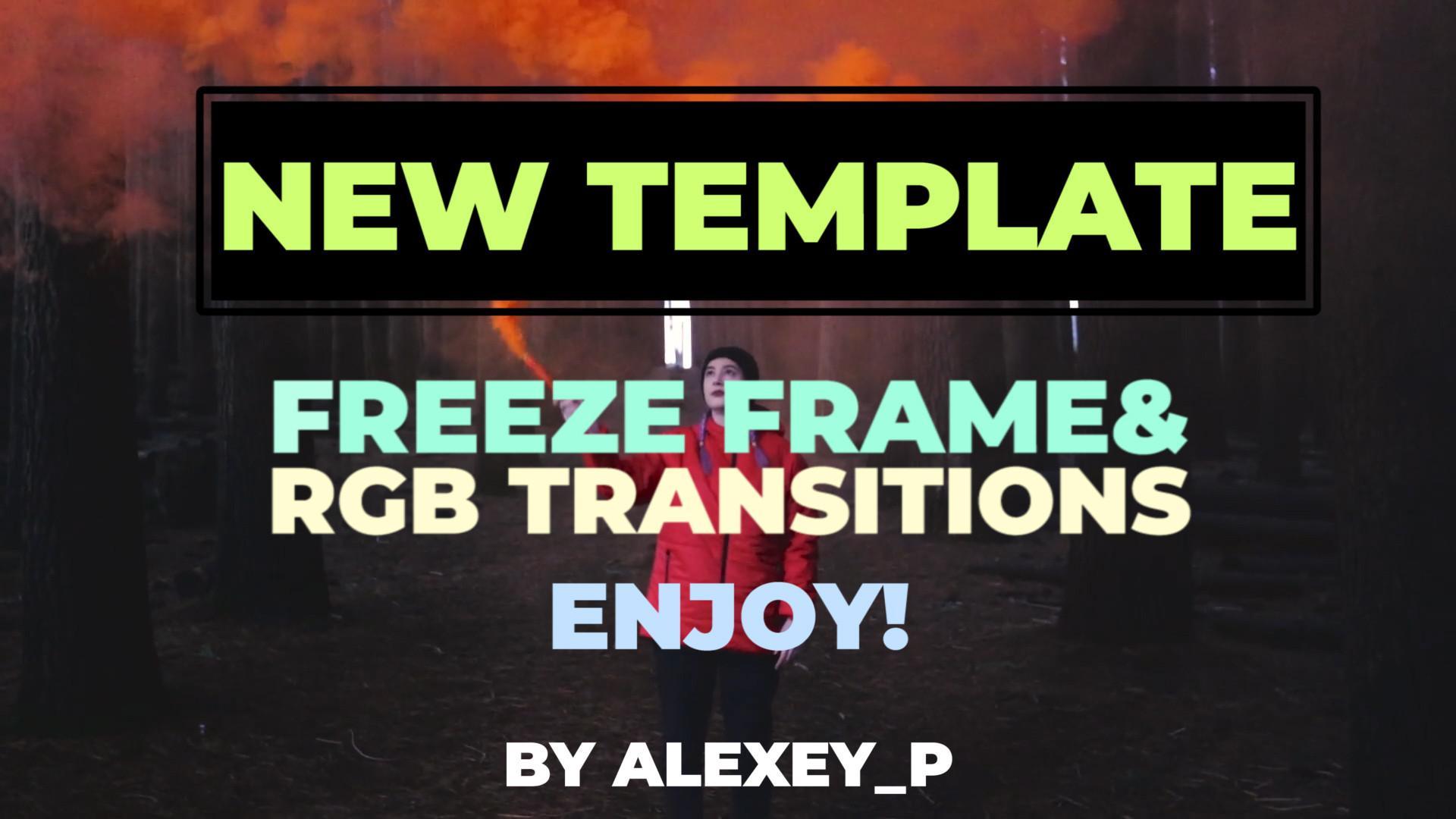 PR模板 冻结帧RGB效果PR视频转场特效 Vlog画面定格瞬间切换画面视频模板