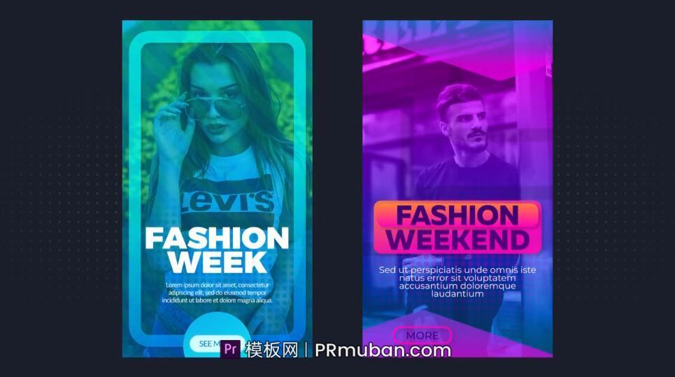 PR视频海报模板 时尚多彩6款PR抖音竖版手机短视频模板 PR朋友圈小视频模板插图
