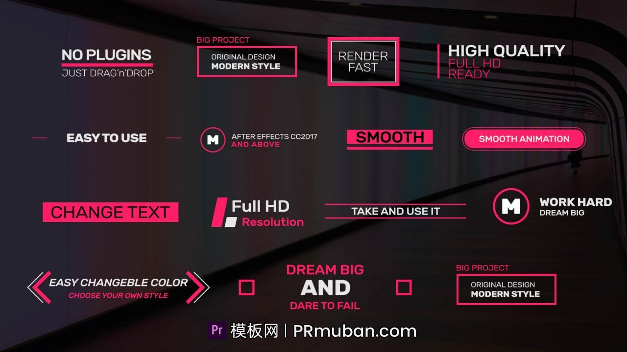 PR模板免费下载 14个简单又富有创意的Premiere动态标题文字动画模板免费下载插图