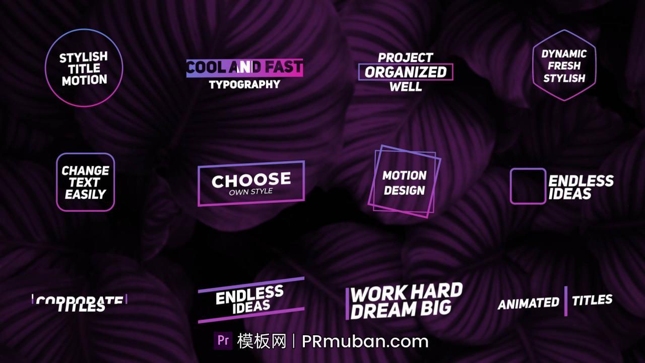 PR动态图形模板 12个干净简约全屏PR标题模板 适用于Vlog,开场白,采访,演示文稿等插图