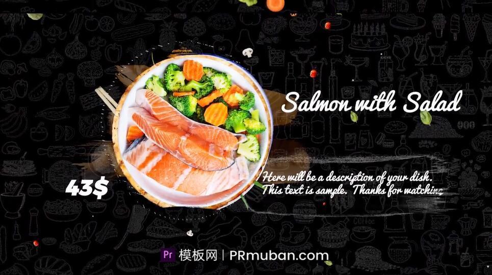 PR模板 网红美食餐饮店新菜品推荐视频菜谱介绍蔬菜转场PR模板插图