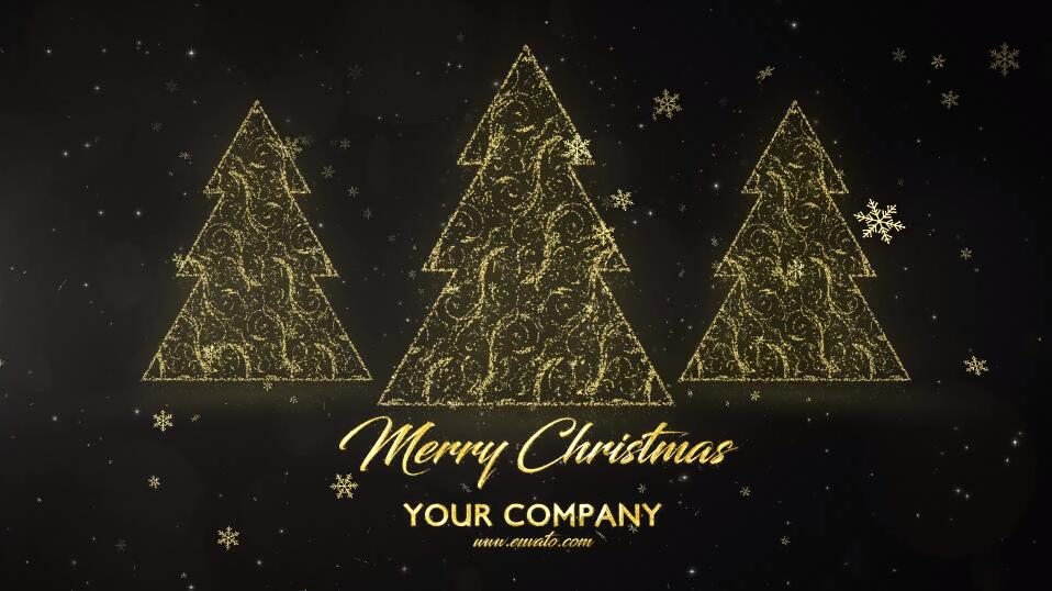 Premiere圣诞节日活动视频模板 光线穿梭金色雪花粒子效果PR标题文字模板插图(3)