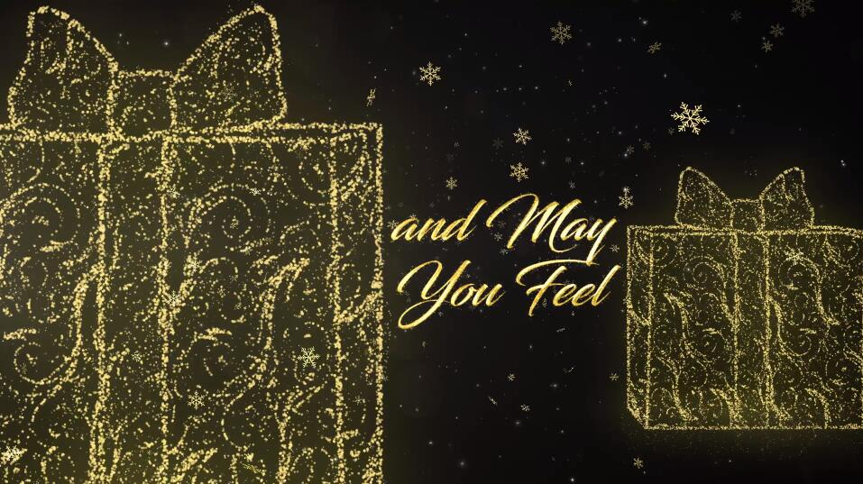 Premiere圣诞节日活动视频模板 光线穿梭金色雪花粒子效果PR标题文字模板插图(2)