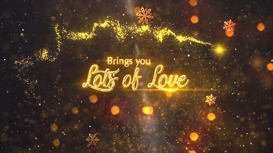 Mogrt圣诞节开场视频模板 金色粒子环绕标题展示PR模板免费下载插图
