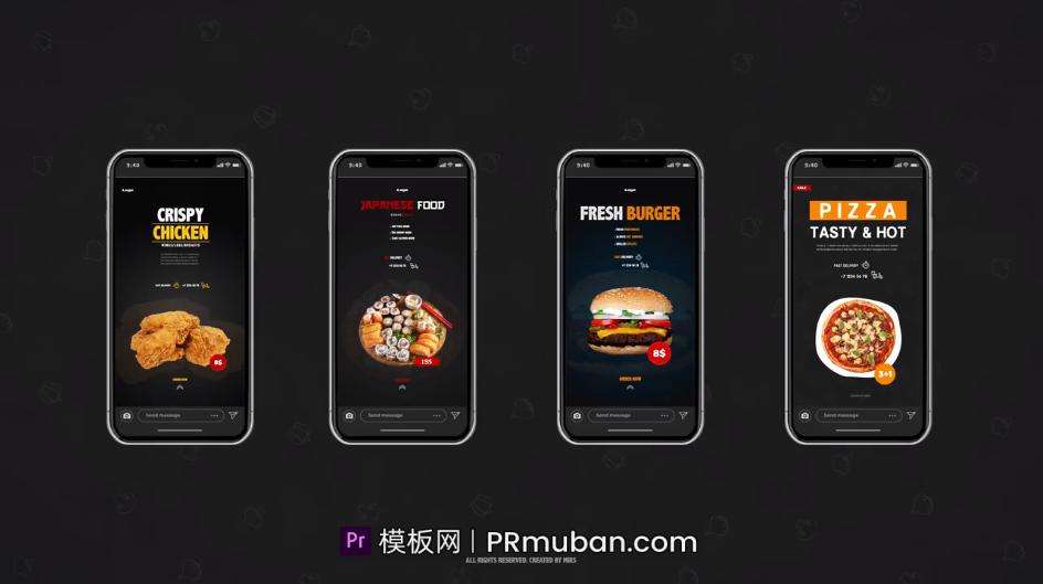PR美食宣传视频模板 4种全高清+4种垂直网红美食小零食产品详情视频模板插图(1)