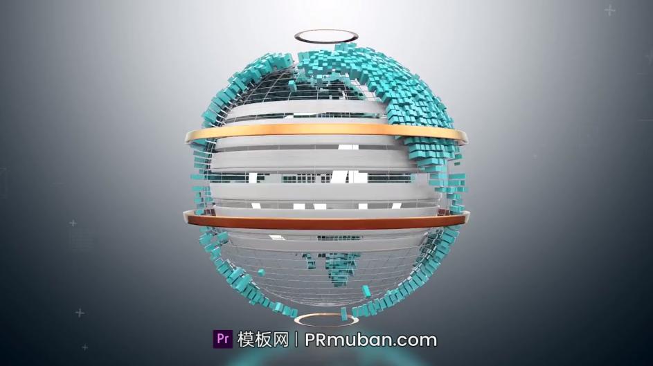 PR片头模板下载 多维信息数据元素3D地球动态LOGO动画PR模板插图