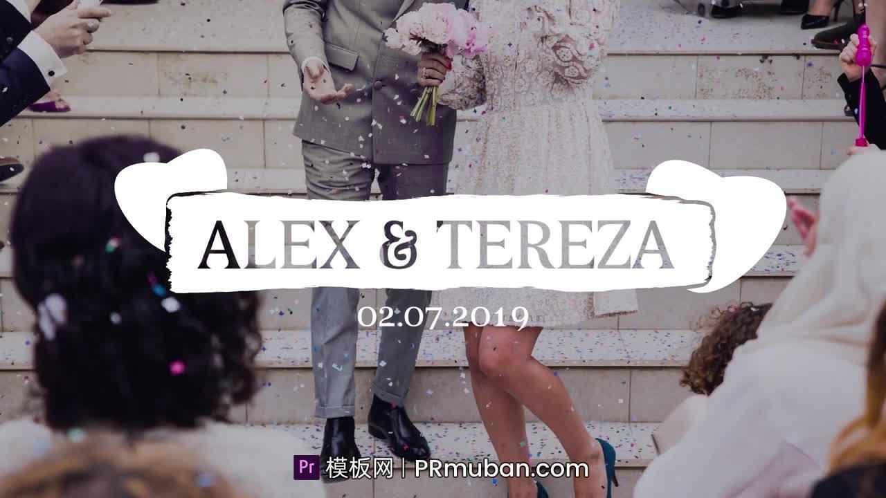 PR文字模板 简约清新白色手绘运动图形Mogrt婚礼标题字幕模板