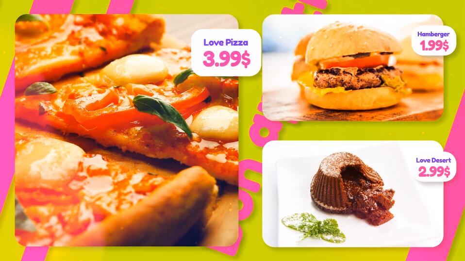 PR模板 Premiere中西餐美食餐厅快餐店新菜品上市美食促销视频模板