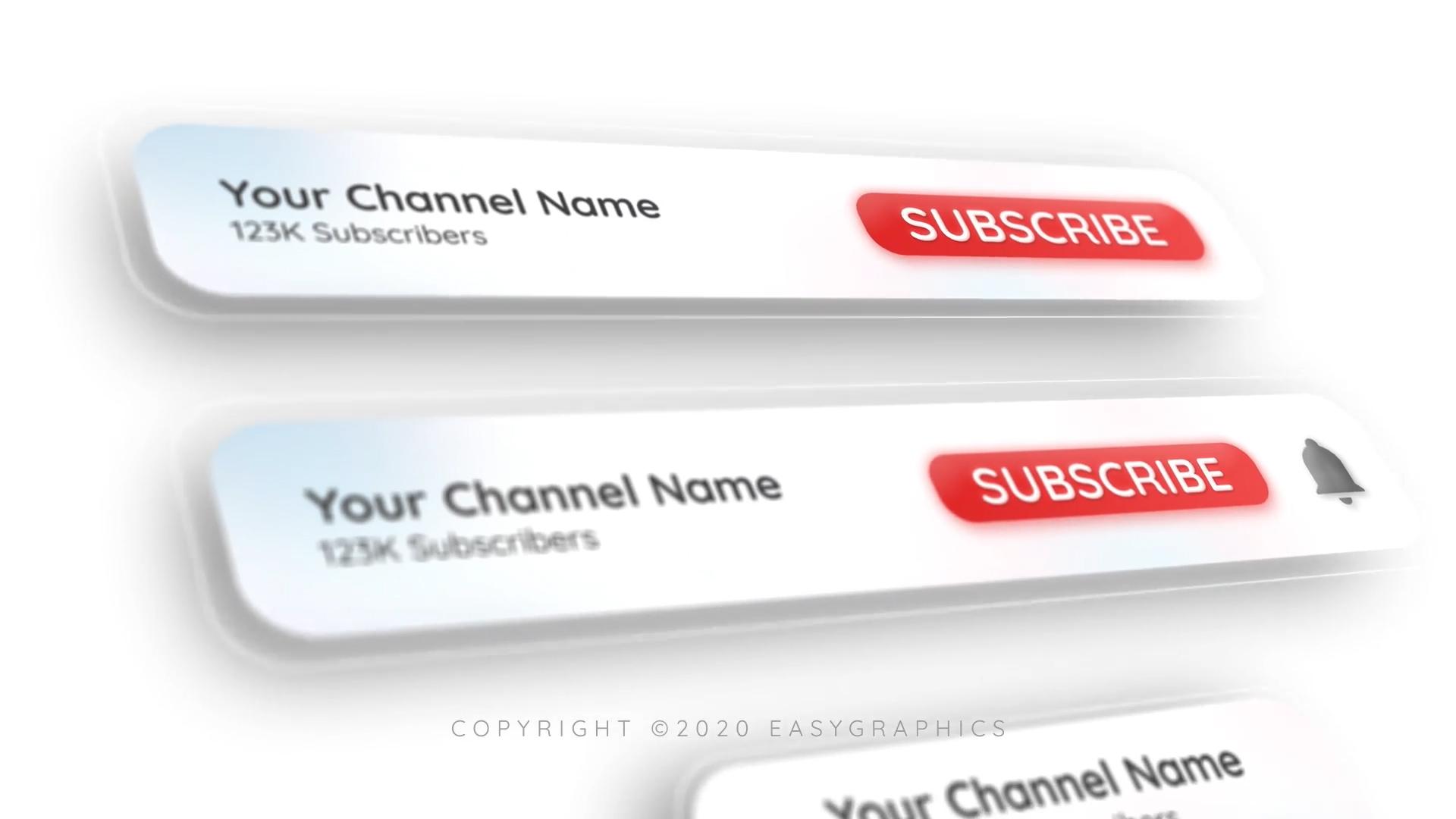 PR模板免费下载 时尚的Youtube订阅按钮提示动画PR模板包