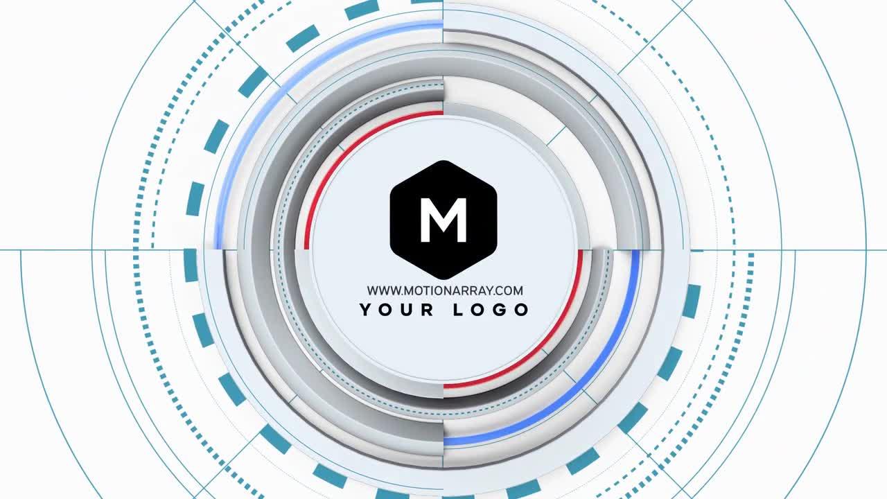 免费PR片头模板 广播级动态图形3D圆圈动画LOGO展示PR模板
