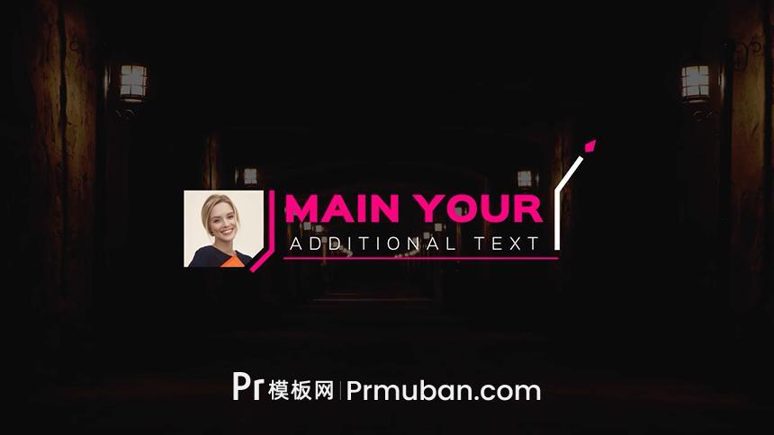 PR线条呼出标注模板 人物+姓名+职位等信息介绍PR模板下载