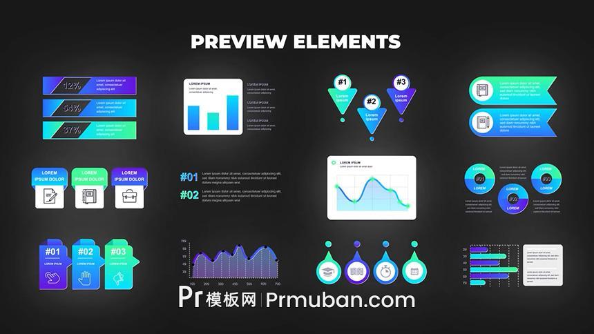 PR数据模板 非常漂亮的数据统计信息图表PR模板下载-PR模板网