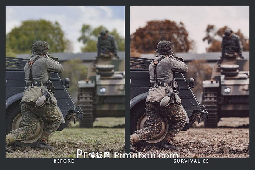 电影级PR/FCPX/达芬奇调色lut预设 军事照片调色LR预设-PR模板网