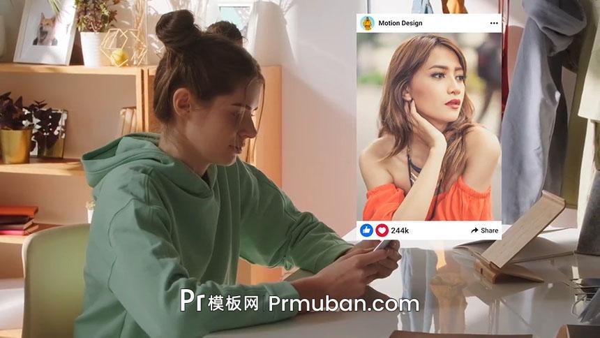 PR模板 社交媒体网站APP宣传作品展示PR自媒体视频模板-PR模板网