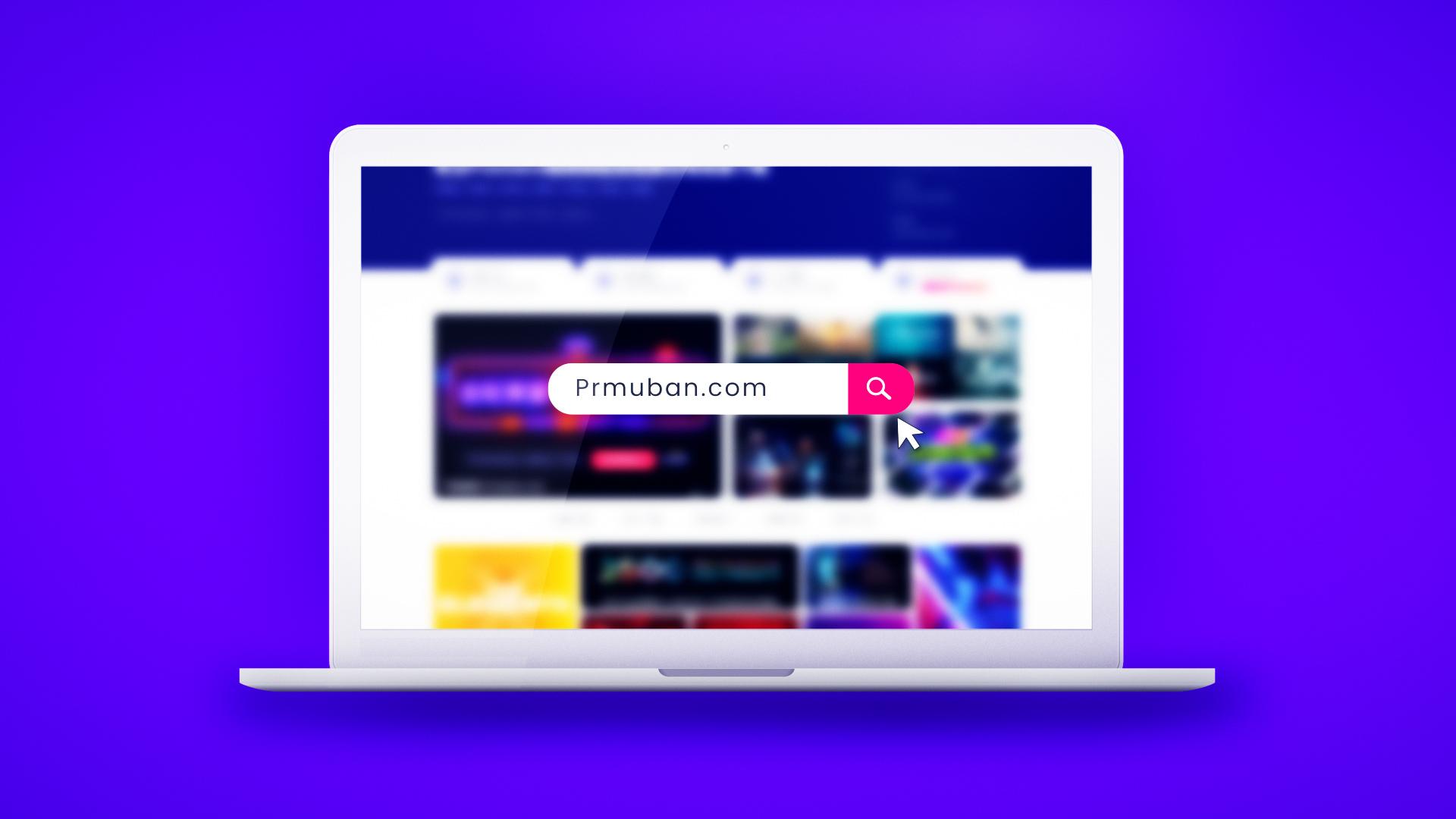笔记本电脑搜索内容品牌宣传PR片头模板MOGRT